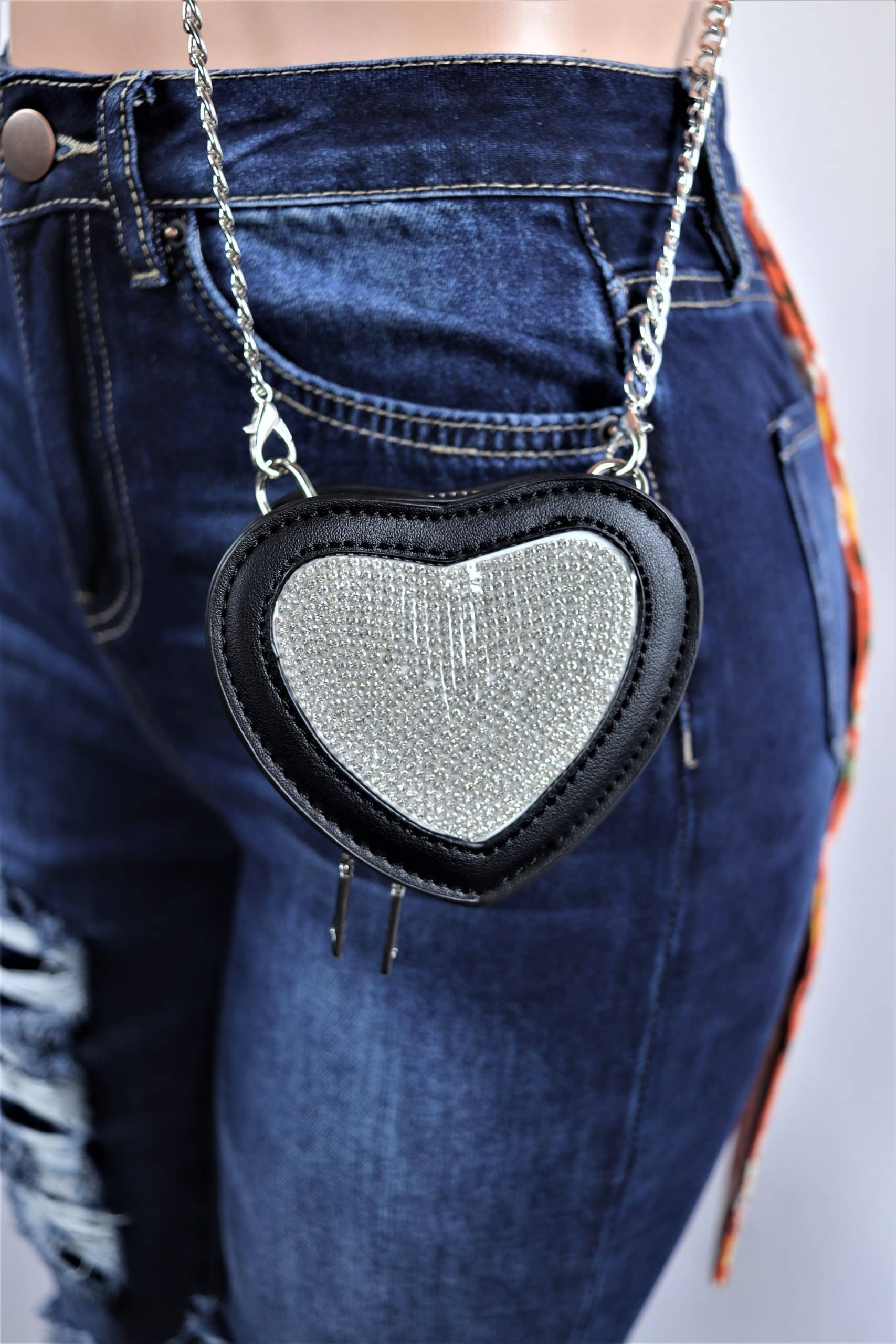 Mini Heart Rhinestone Crossbody Bag